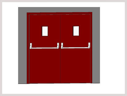 Double Leaf Fire Door with Vision Panel and Panic Bars